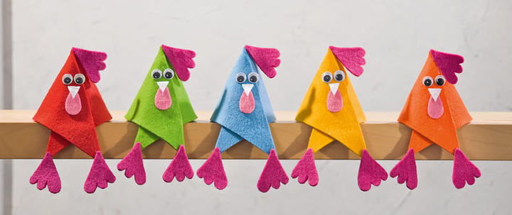 Colorful Felt Chicken Sitters, easy and quick